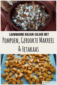 Lauwwarme Bulgur-salade met geroosterde pompoen, gerookte makreel en fetakaas