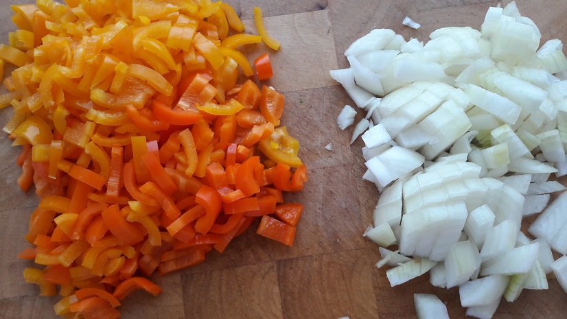 Finely cut onion and bell peppers