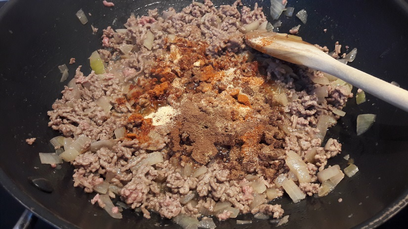 Adding spices to ground lamb