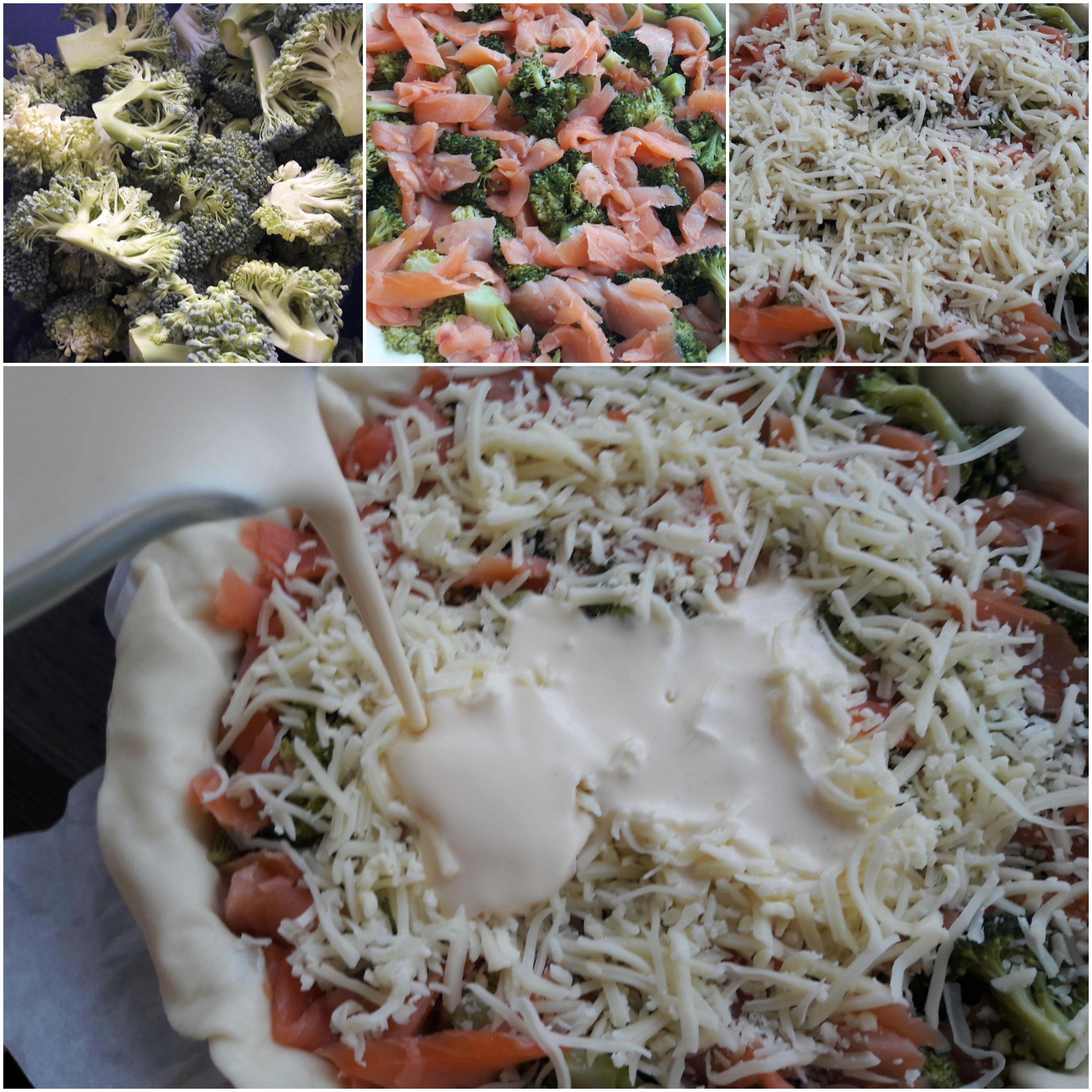 Voorbereiden van de quiche met gerookte zalm en broccoli.