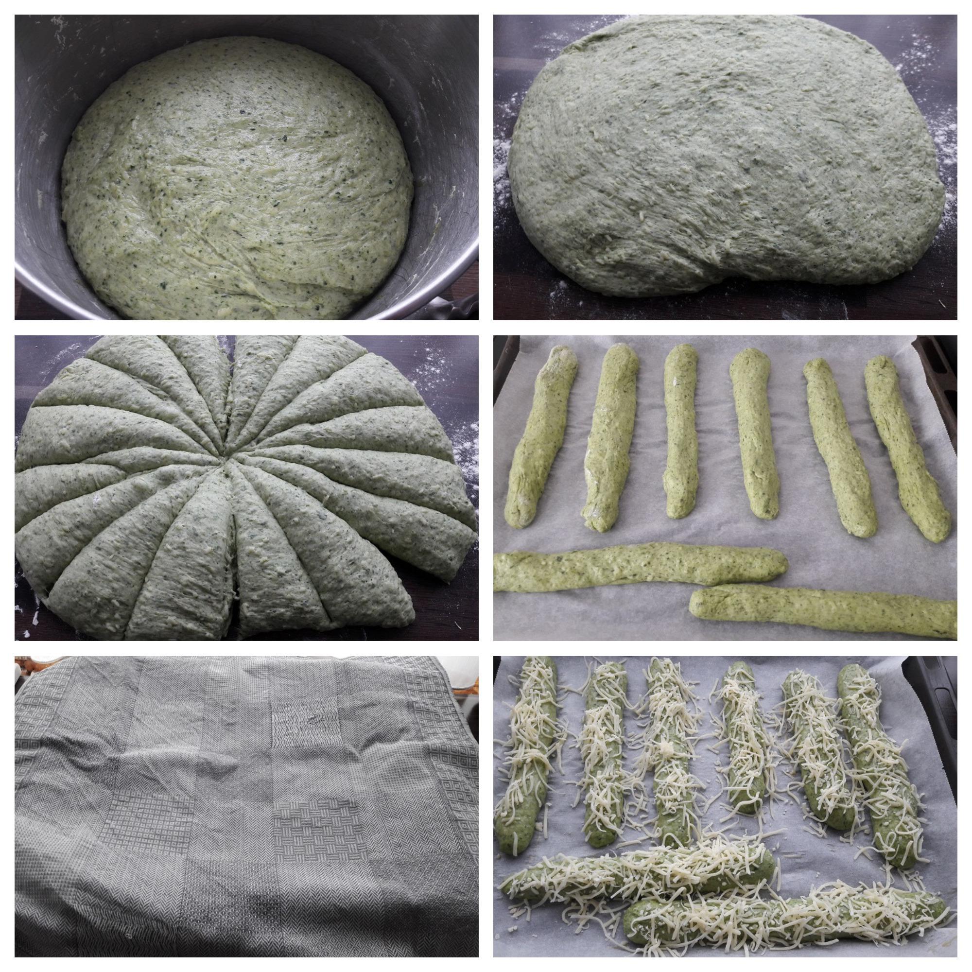 Gerezen deeg, verdeeld in stukken, kaas erover