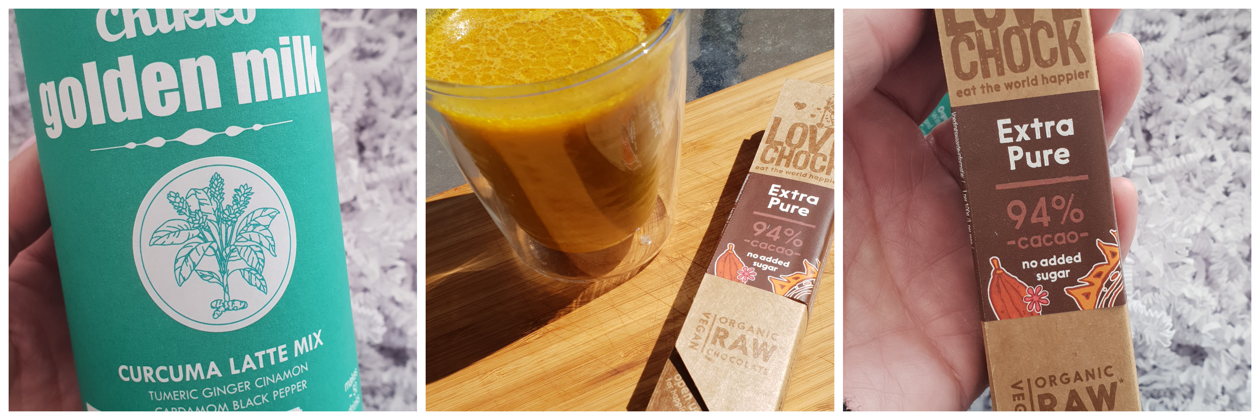 Golden latte en raw chocolate