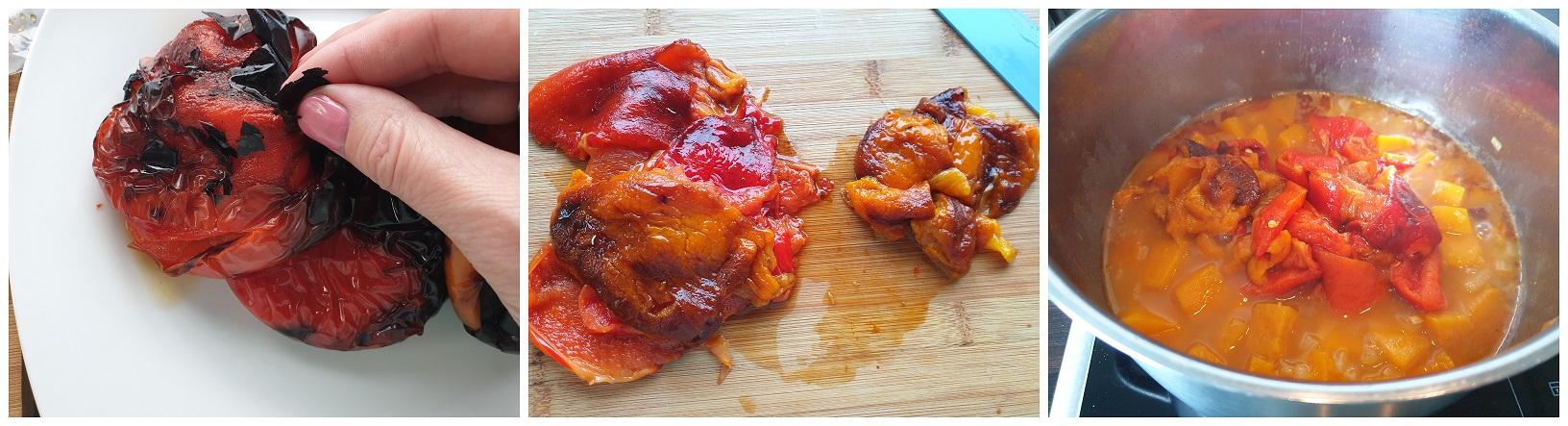 Vel van paprika halen, zaadjes verwijderen en in stukken snijden van de paprika