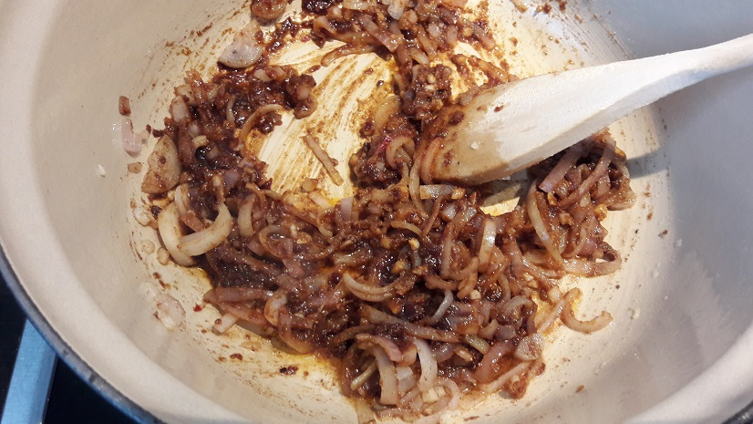 Frying the spices, shallots and sambal