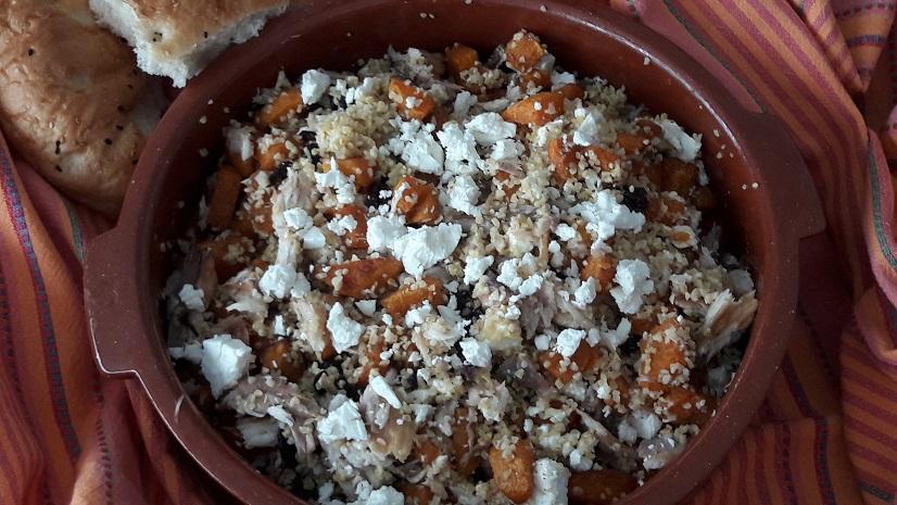 Bulgur Salad with Roasted Pumpkin, Smoked Mackerel and Feta Cheese