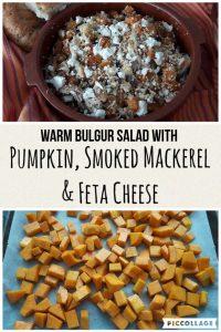 Warm Bulgur salad with roasted pumpkin, smoked mackerel and feta cheese