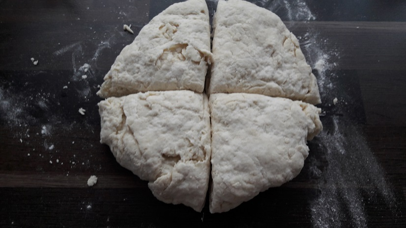 Form a disc and cut dough in 4 equal parts