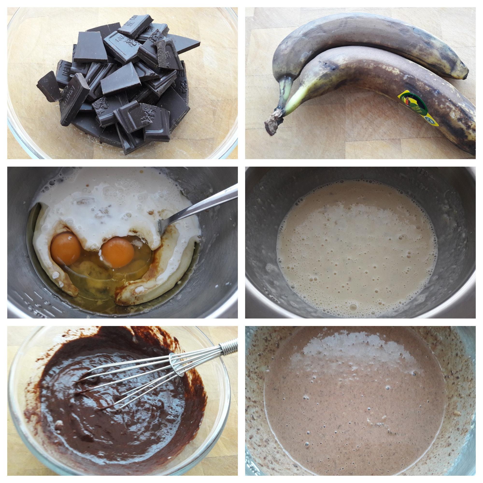 Natte ingrediënten voorbereiden voor het Triple Chocolate Bananenbrood