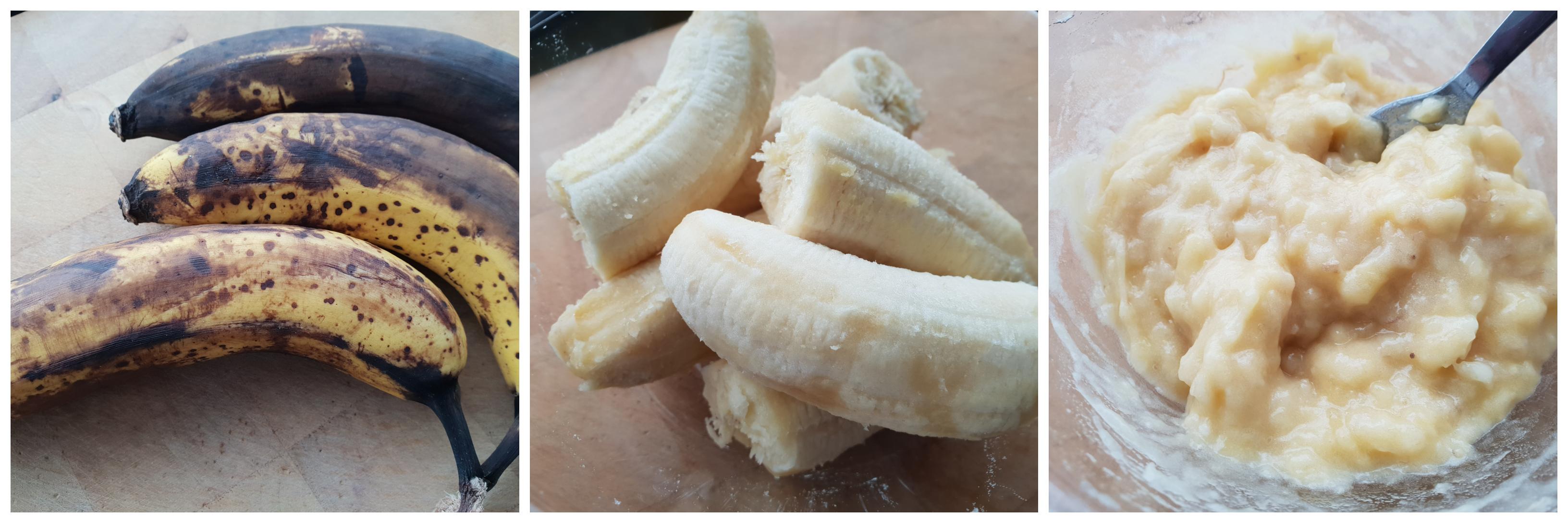 Bananen prakken voor het bananenbrood