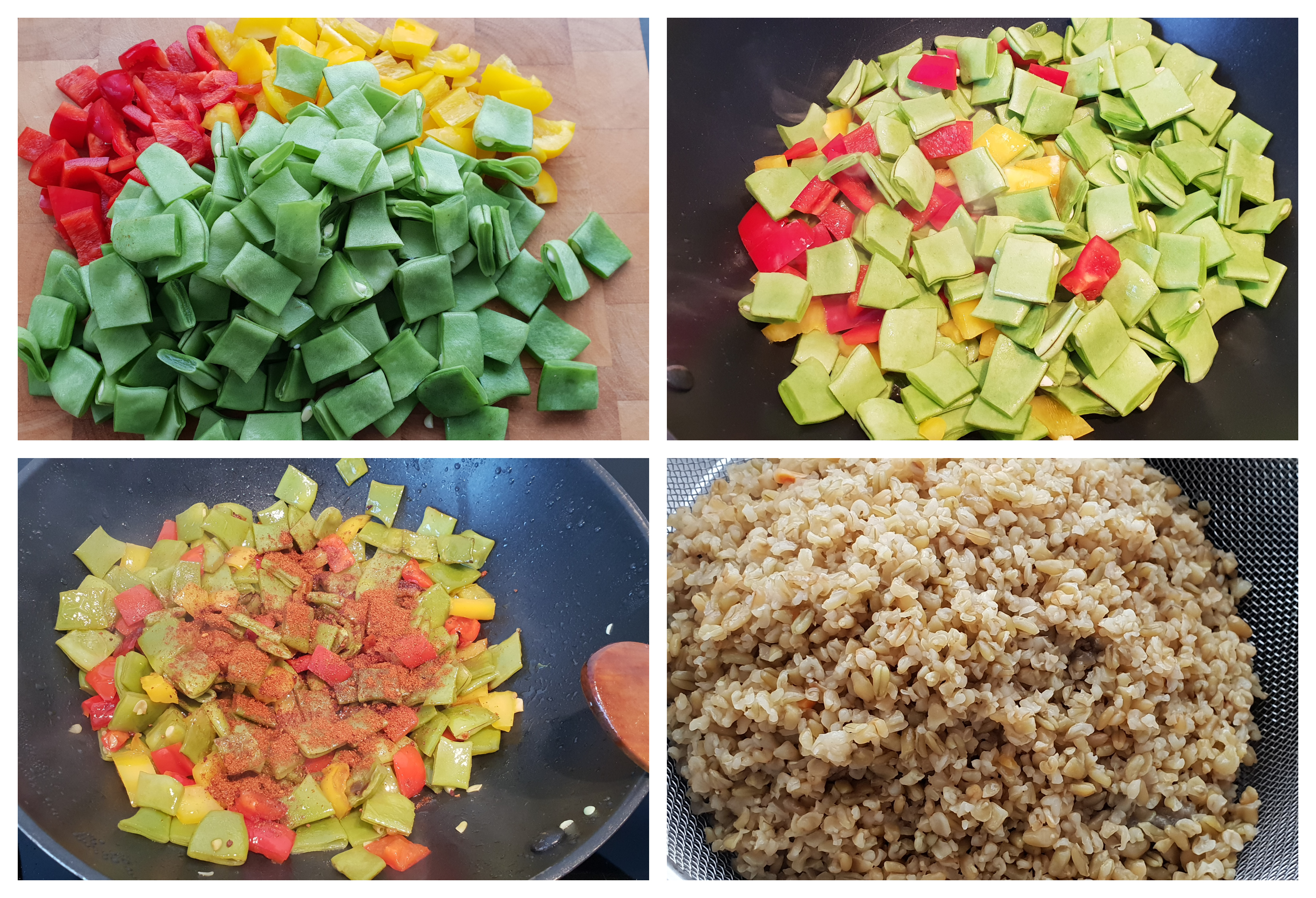 Preparing the freekeh and the vegetables