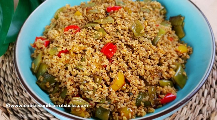 Stir-fired vegetables with freekeh