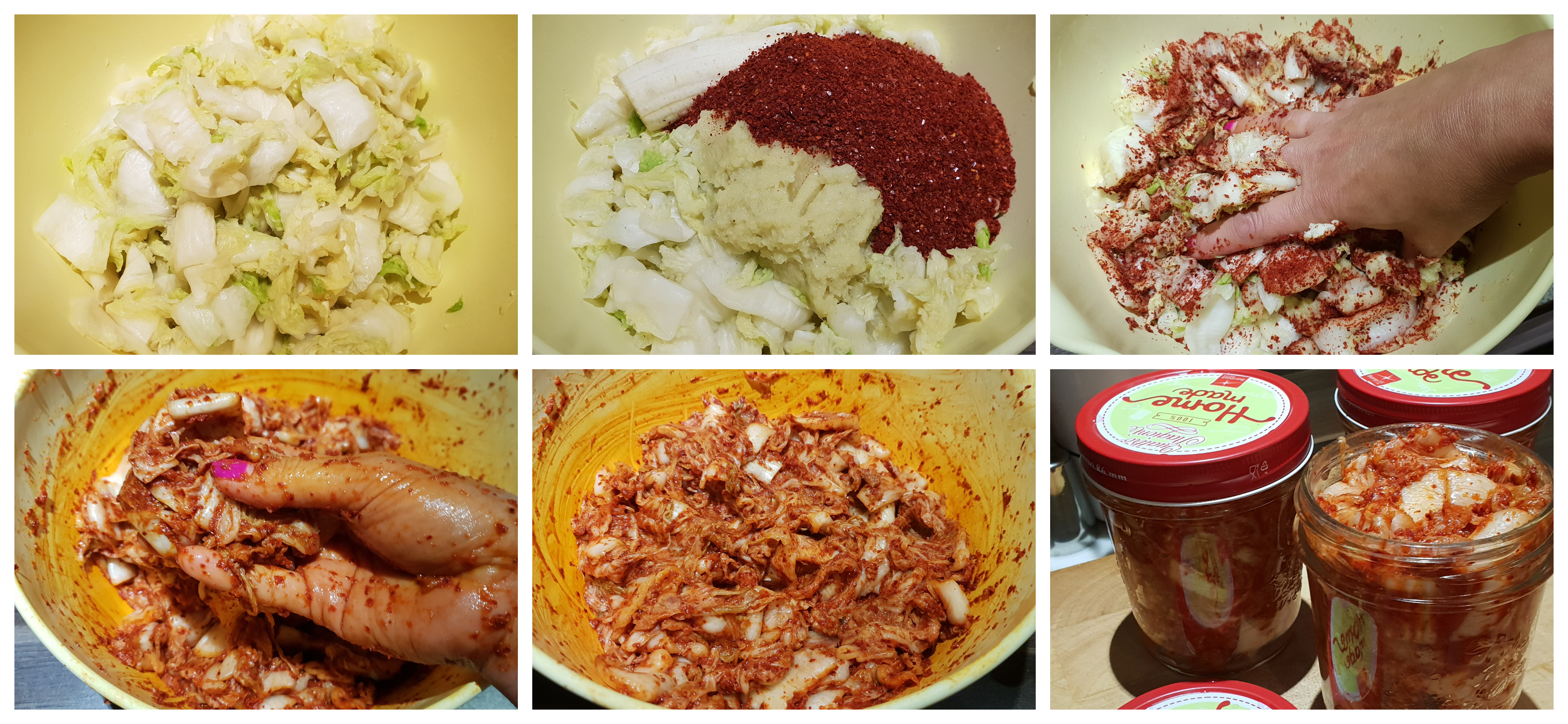 De kruiden in de kool kneden voor Kimchi
