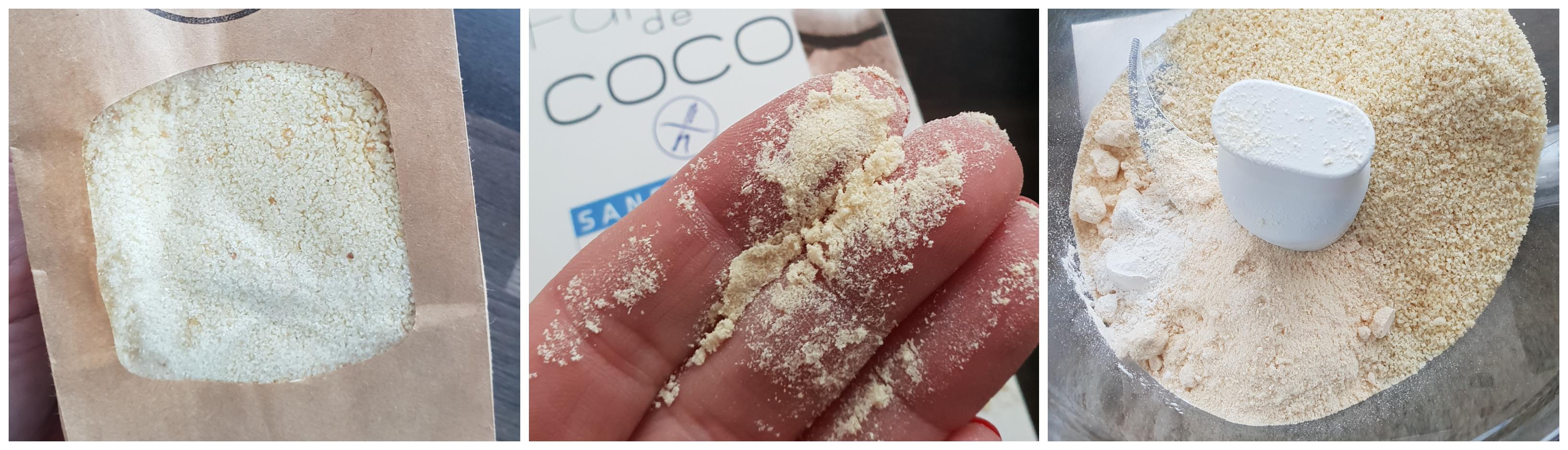 Meng amandel-, kokosmeel en zout in keukenmachine