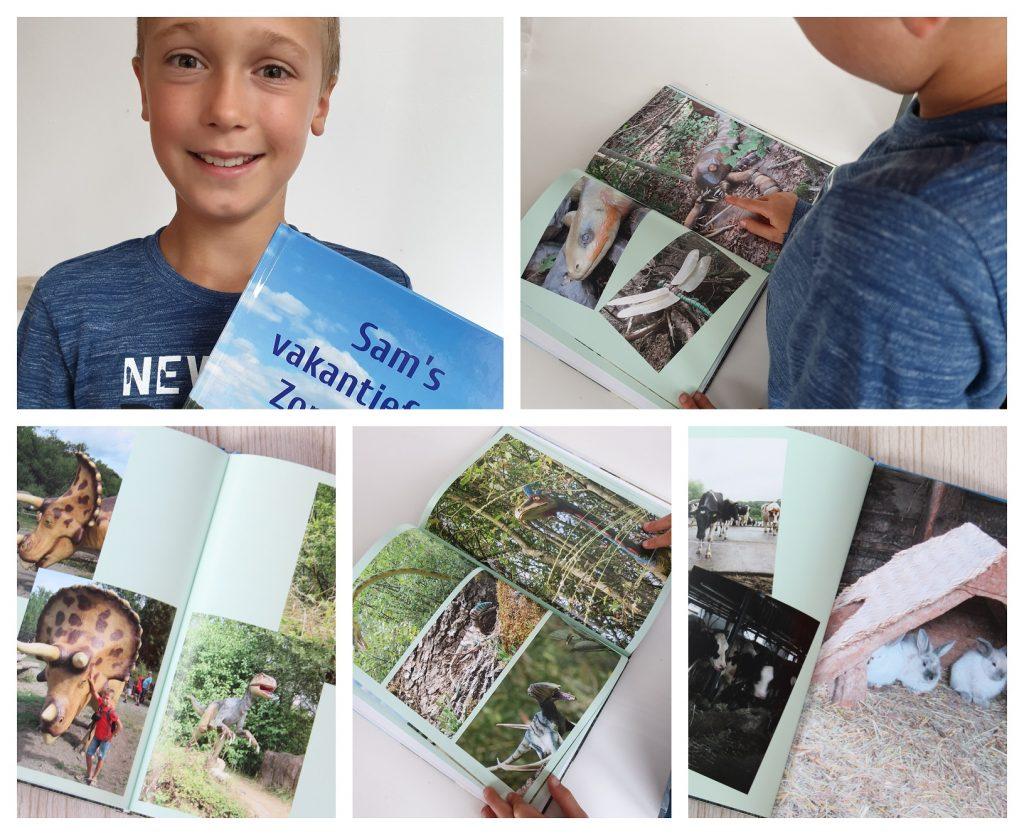Sam is helemaal blij met zijn eigen fotoalbum