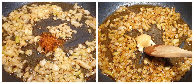 Specerijen en gember/knoflook meebakken