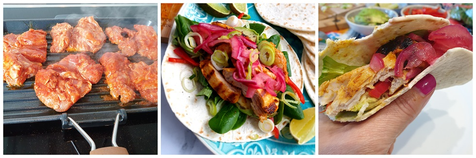 Kip grillen en de taco's vullen