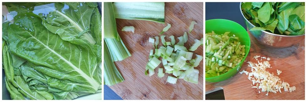 Snijbiet en knoflook voorbereiden