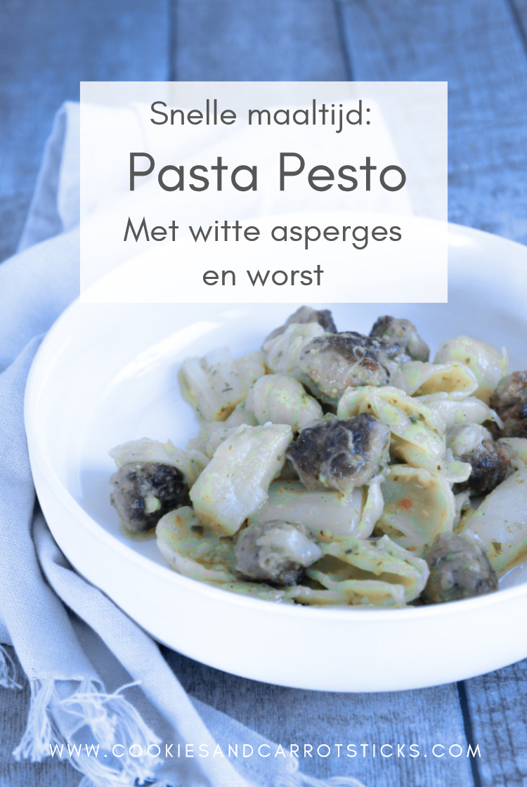 Pasta pesto met asperges en worst PIN